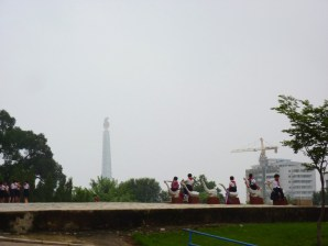 View of Juche Tower from the school