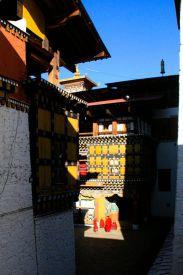 Paro Dzong Monks in Courtyard Bhutan
