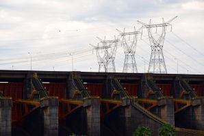 Itaipu Dam Power Lines over Dam