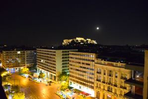 NJV Athens Plaza Hotel Room View at Night Parthenon
