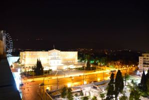 NJV Athens Plaza Hotel Room View at Night