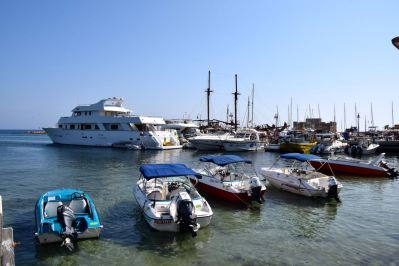 Paphos Town Harbor Boats