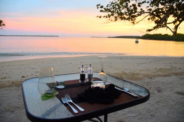 Vanuatu Sunrise Beach Cabanas Dinner View