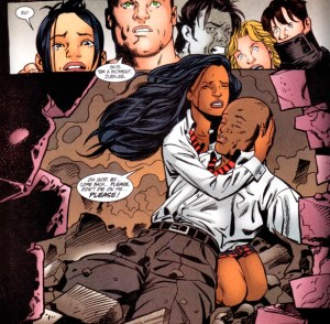 Monet cradles Synch's dead body from Generation-X #70 published December 2000, art by Steven Pugh