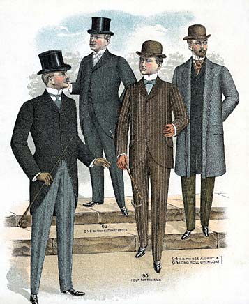 Menswear from the late 1800's, potential costumes.