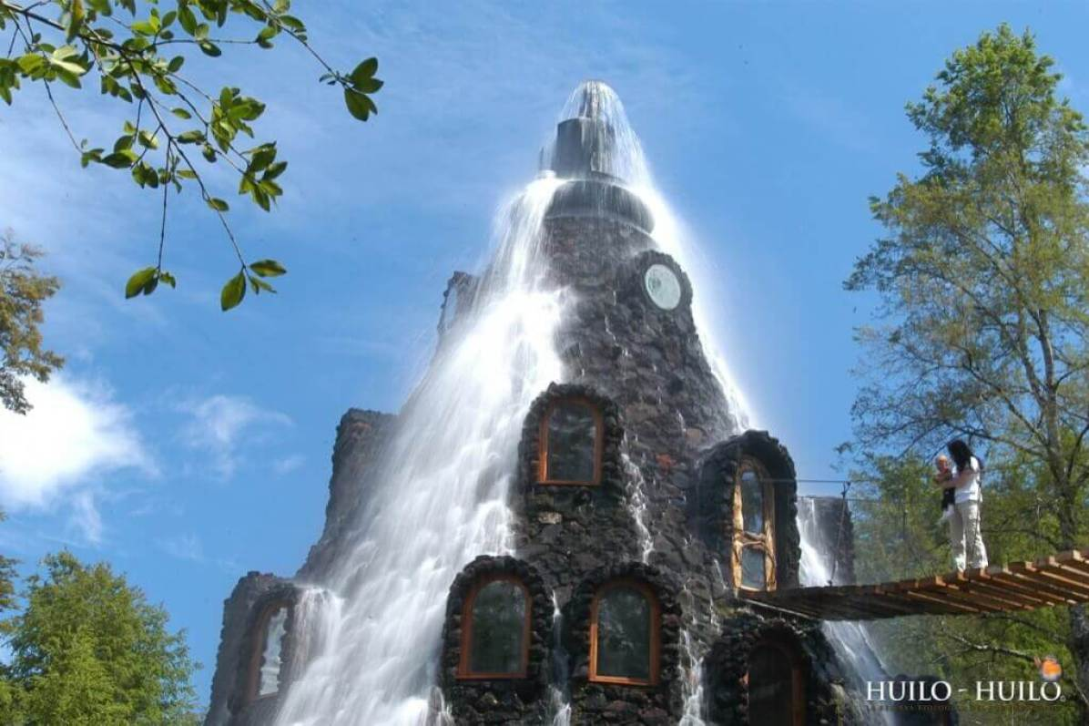 The Magic Mountain Lodge, - Huilo-Huilo, Chile - Living in a waterfall