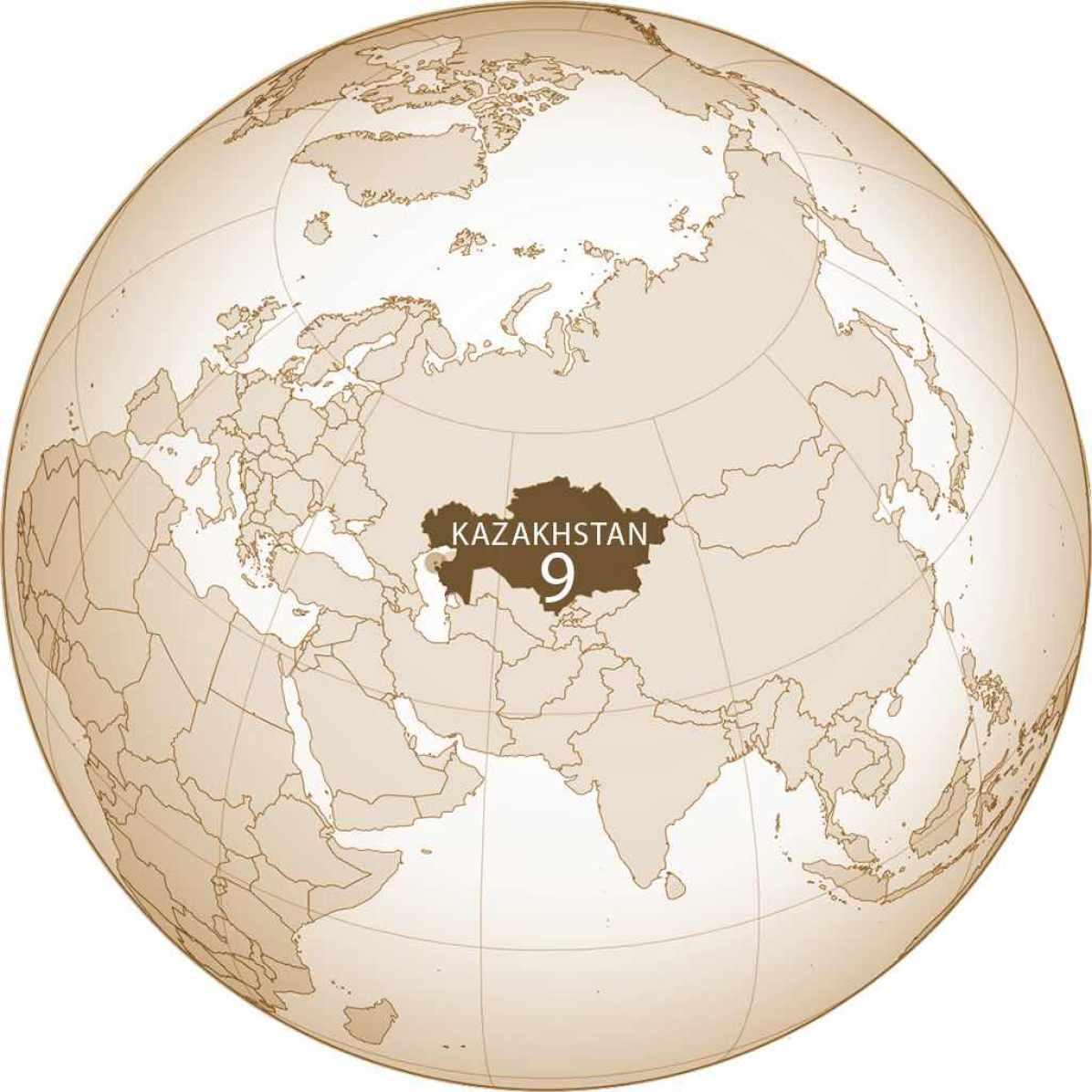 Kazakhstan World Map - by Turkish Flame/Wikimedia + S Solberg J