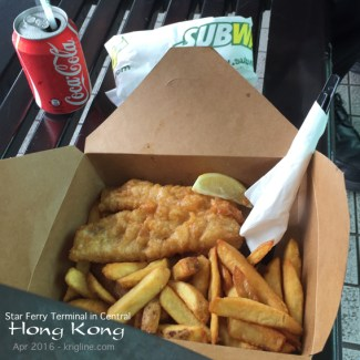 Genuine British Fish & Chips at the Central ferry pier (along with a much cheaper Subway sandwich and Coke lunch combo)