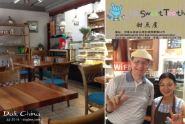 """Inside The Sweet Tooth, restaurant and bakery. If you don't know what the hand sign means, it's """"I love you."""" The bakers are deaf, which reminded me of a similar bakery run by a friend of mine in Changsha."""
