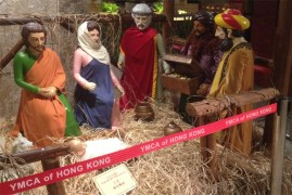 """Amidst the omnipresent Santa and snowflake decorations in HK, it was refreshing to see this nativity scene at the HK Young Men's Christian Association (YMCA) hotel. The """"Y"""" also has a nice Christian bookstore, Bible studies and other meaningful activities year round."""