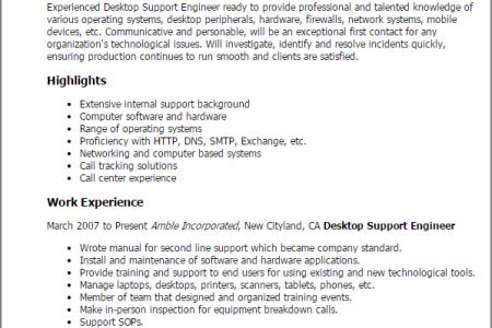 desktop support sample resume resume sample samples wireless
