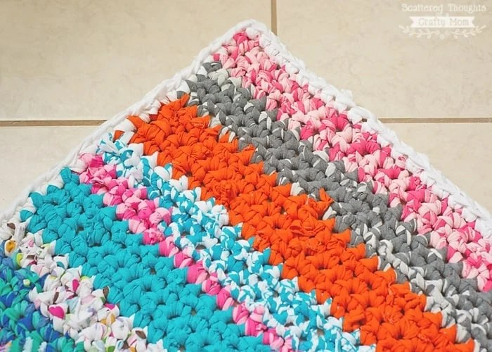 Crocheted Rag Rug Using Fabric Scraps Scattered