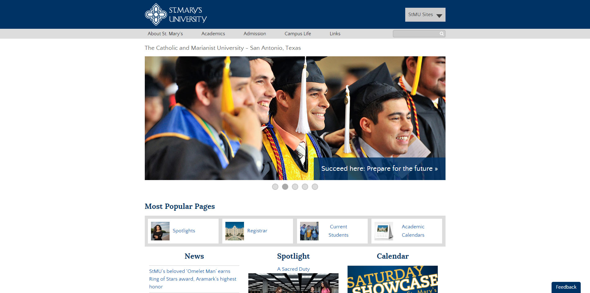St. Mary's University homepage