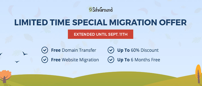 Hosting Migration Deals With Siteground (Extended Until 11th Sep)