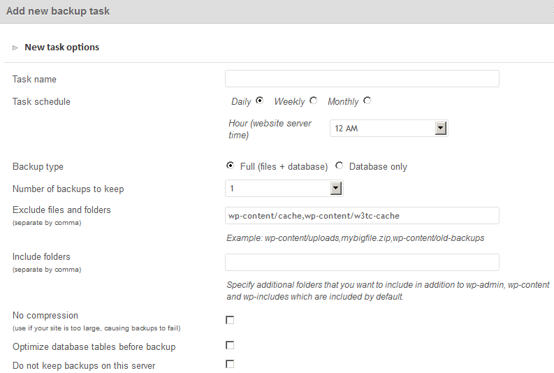 Options To Schedule A Backup For A Particular Site