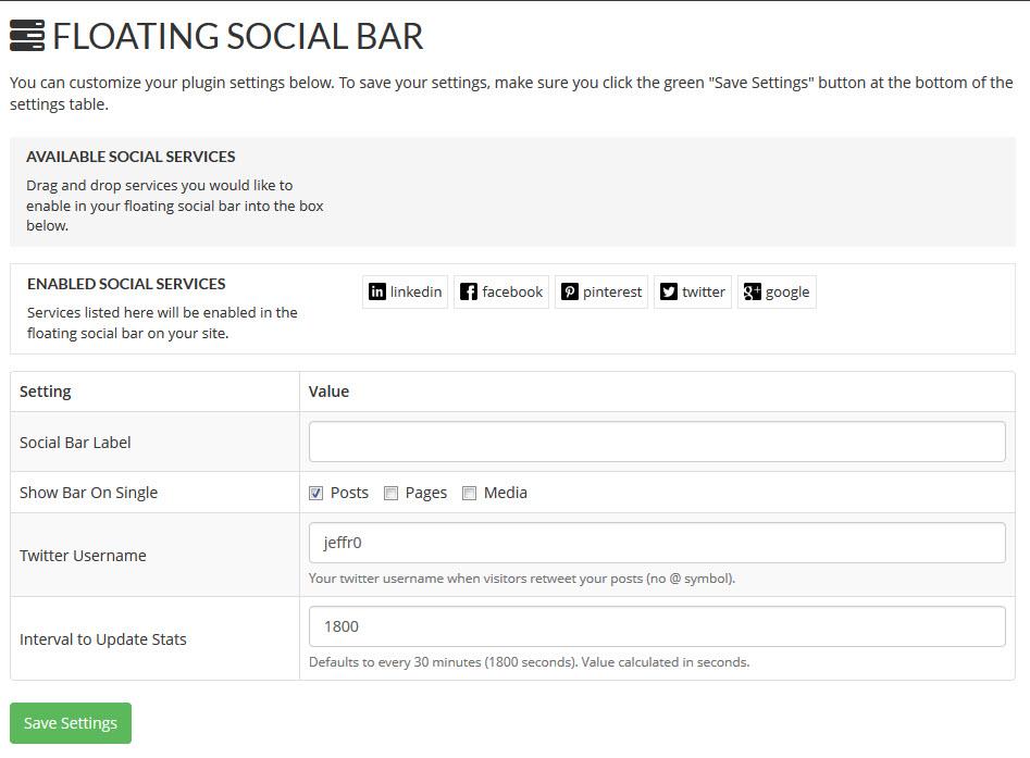 Floating Social Bar Setup