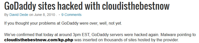 GoDaddy Hacked In 2010