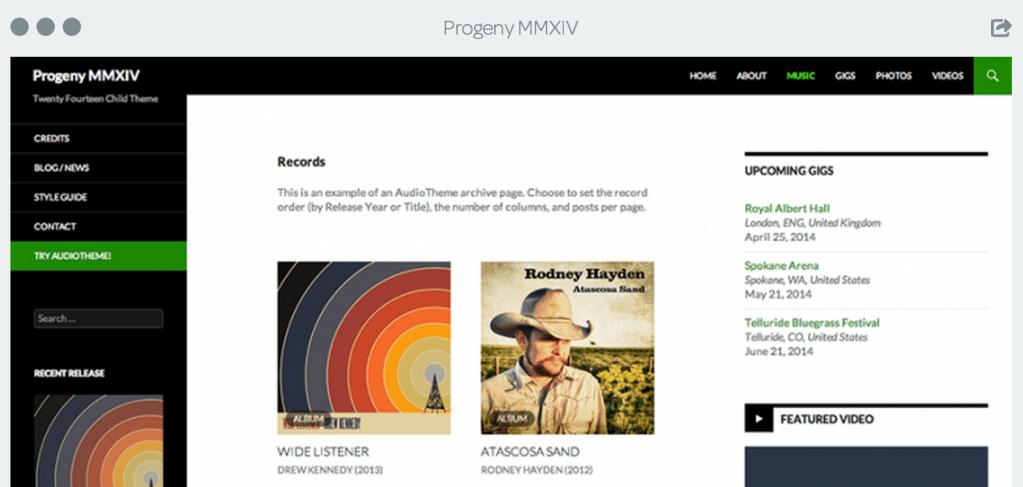 Progeny MMXIV: A Free WordPress Audio Theme Based on Twenty Fourteen