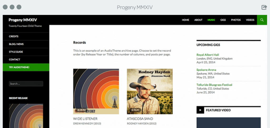 Progeny MMXIV: A Free WordPress Audio Theme Based on Twenty Fourteen