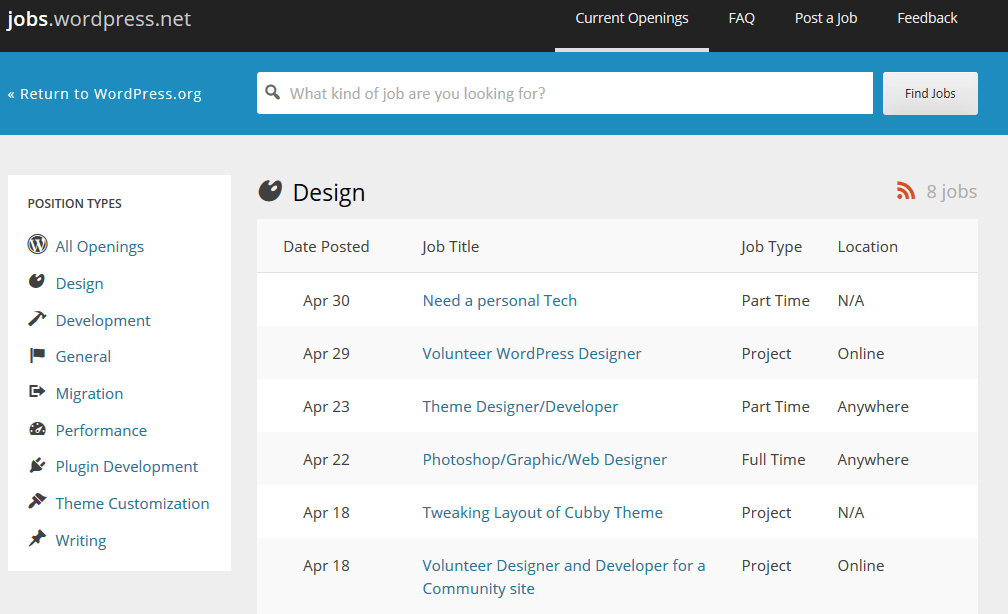 Official WordPress Jobs Board