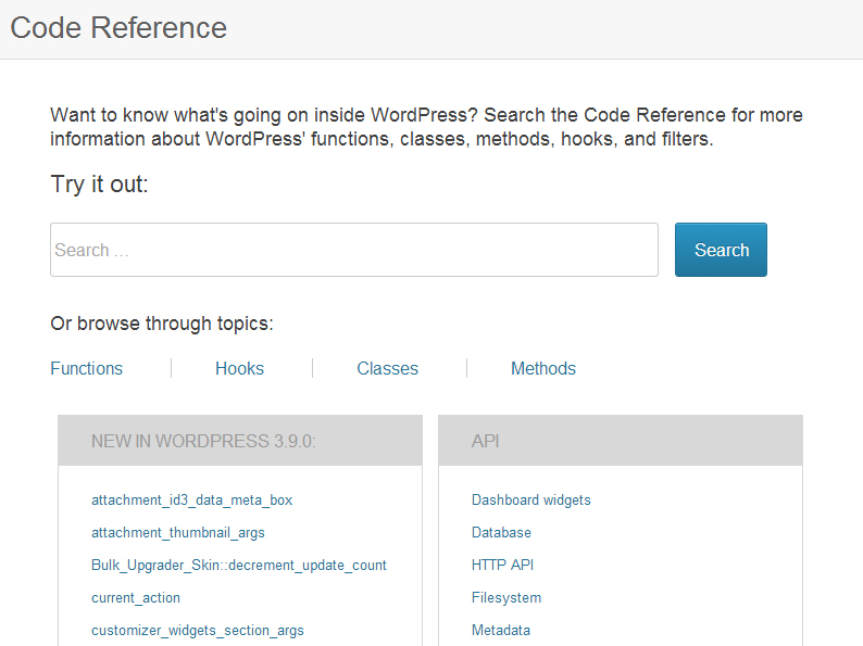 wordpress-code-reference