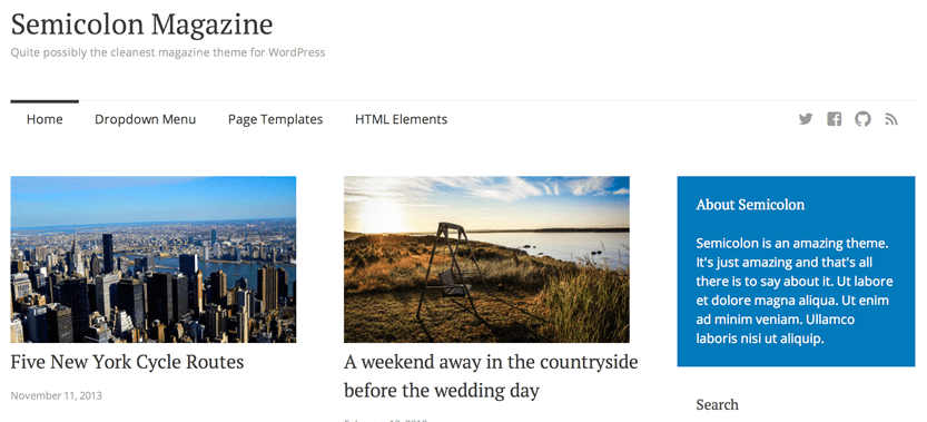 Semicolon is Possibly the Cleanest Free Magazine Theme for WordPress