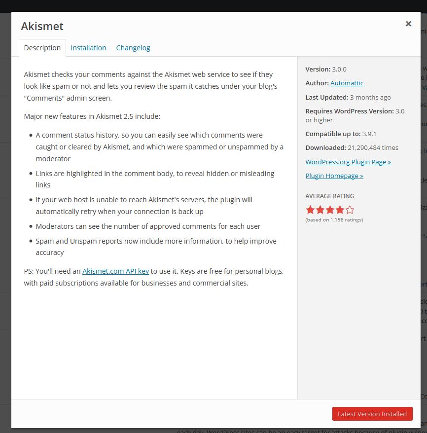 Current Plugin Details Modal View