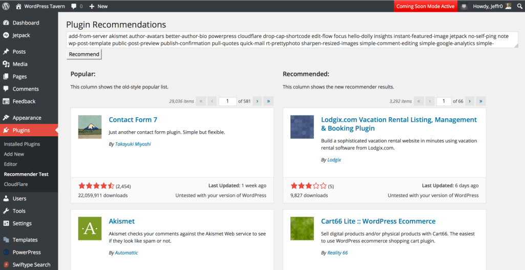 Plugin Recommender Test Page