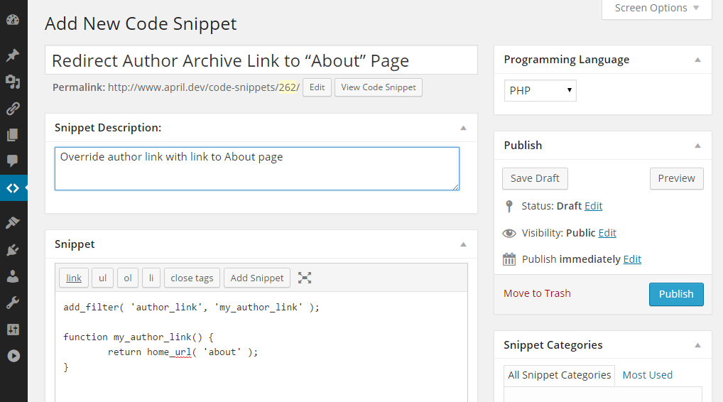 The Code Snippets Custom Post Type WordPress  Plugin