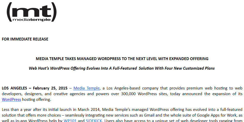 MediaTemple SIDEKICK press release