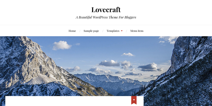 Lovecraft: New Free WordPress Theme Combines Prominent Imagery with Strong Serif Fonts