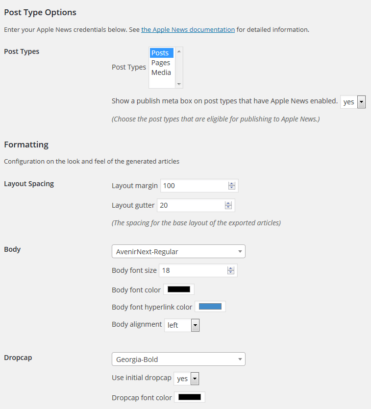 News Publisher Plugin Options Page