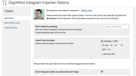 Instagram Plugin Screen