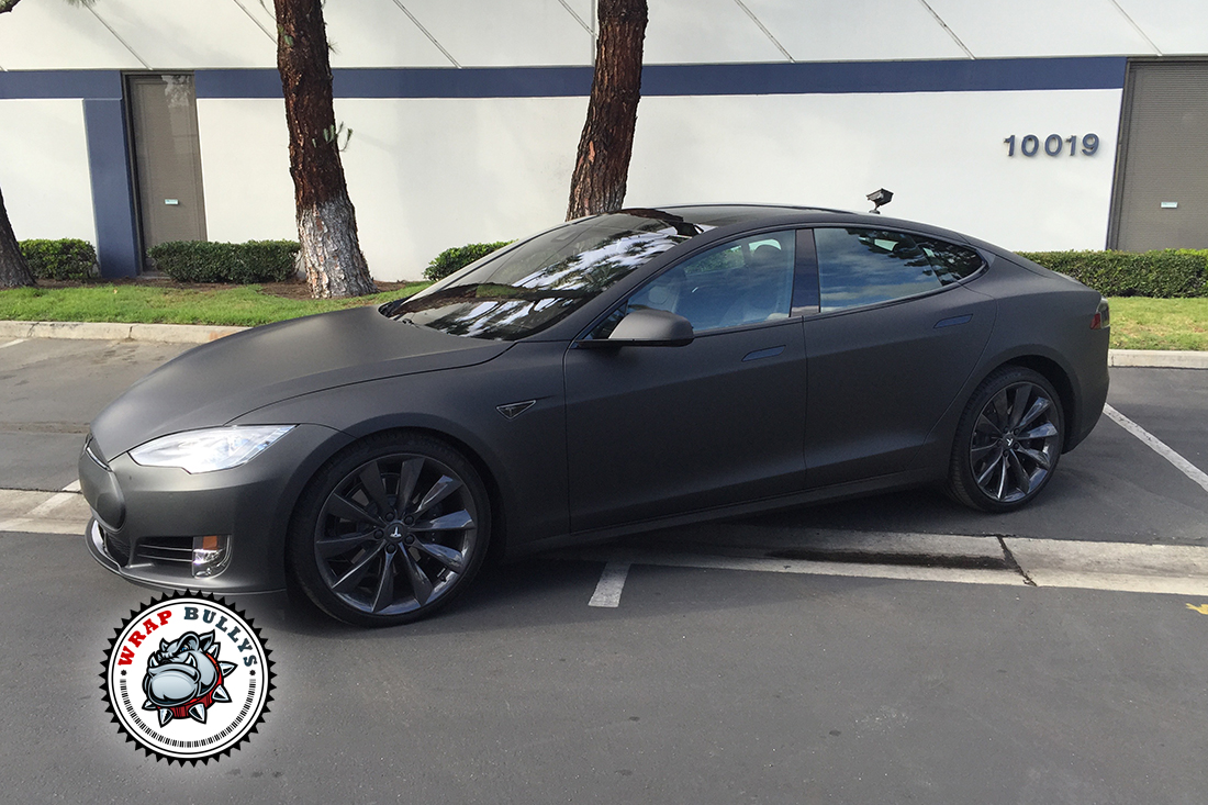 Tesla Wrapped In 3m Deep Matte Black Car Wrap Wrap Bullys