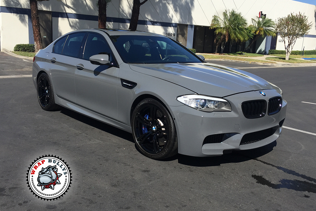 Car Wrap Vinyl >> BMW M5 Wrapped in Gloss Battleship Gray Car Wrap | Wrap Bullys