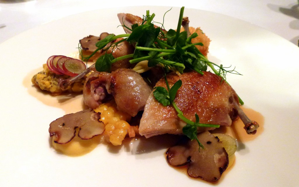 Quail breast and confit of leg, husks of corn, truffle, raw grape at launceston place