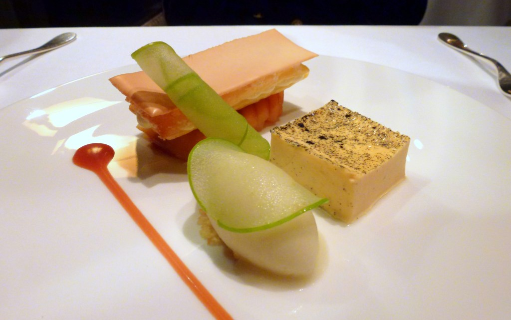 Baked English custard, apple sorbet, glazed puff pastry with calvados cream, green apple at launceston place