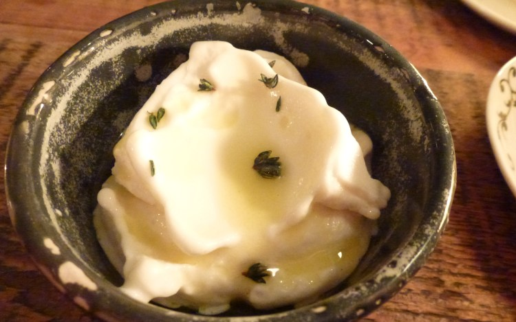Buttermilk sorbet, olive oil, thyme at the clove club