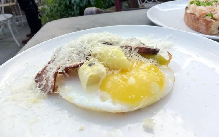 Leeks, artichoke, parmesan, duck egg at smokehouse