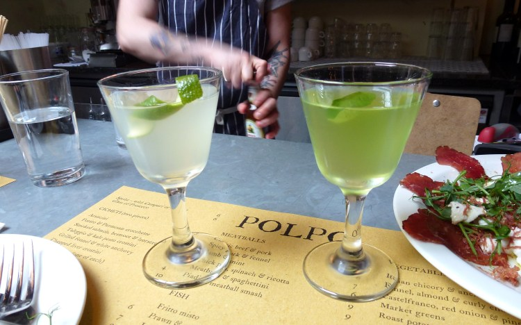 Cucumber and basil cocktails at polpo