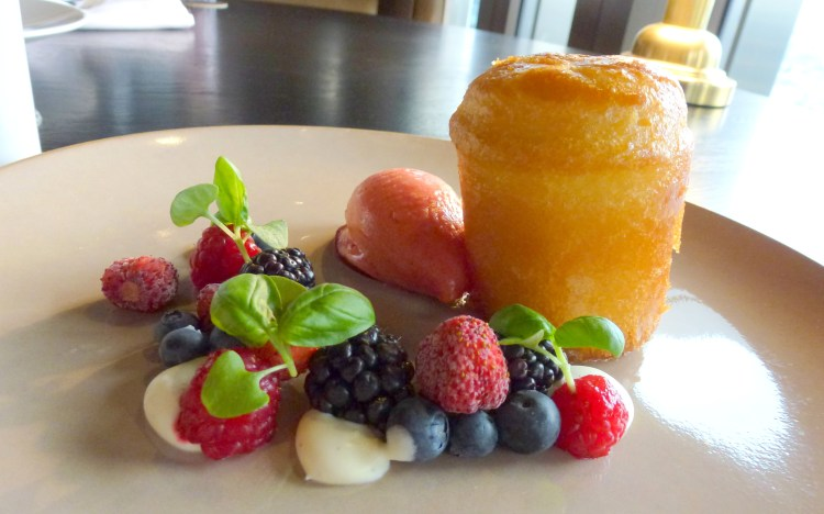 Rum Baba, summer berries, strawberry sorbet, strawberry daquiri at City Social