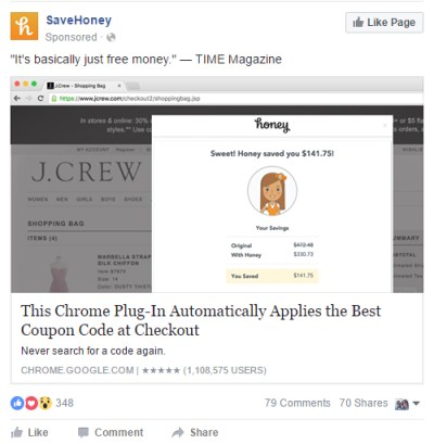 Facebook Advertising App Install SaveHoney
