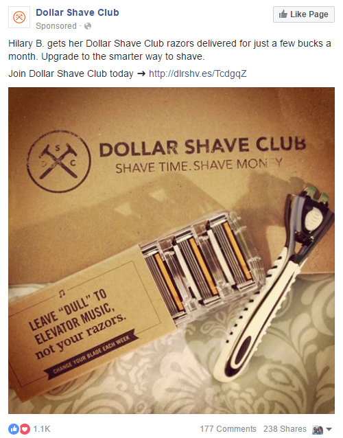 Facebook Advertising Website Clicks Dollar Shave Club