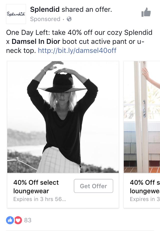 Facebook Advertising Offer Splendid