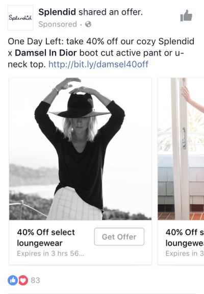 Facebook Advertising Offer Splendid