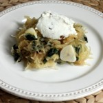 Recipe for spaghetti squash with Swiss chard, ricotta cream and walnuts | writes4food.com