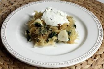 Recipe for spaghetti squash with Swiss chard, ricotta cream and walnuts   writes4food.com