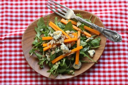 winter salad with arugula, butternut squash and blue cheese recipe   writes4food.com