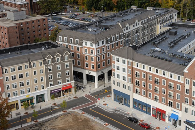 An aerial view of Storrs Center on Oct. 9, 2013. (Peter Morenus/UConn Photo)
