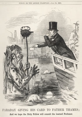 Faraday testing the waters of the Thames, 1855 Punch Magazine, volume 29 Westminster City Archives